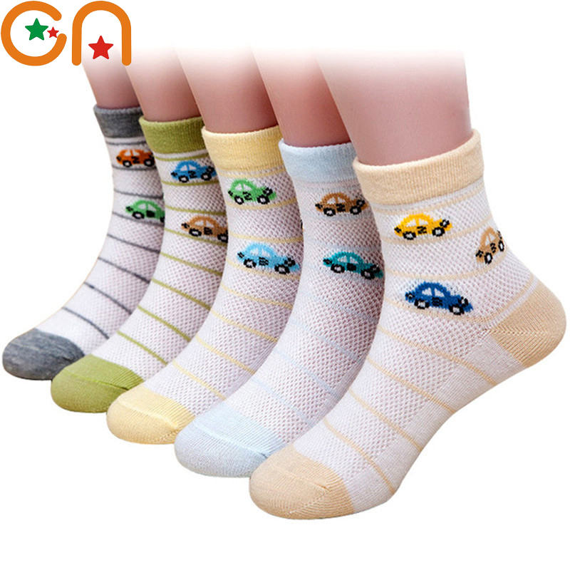 5 Pairs/lot 1-12 Years Kids Cotton Socks Summer Boy Girl Baby Fashion Breathable Sports Mesh Socks Children New Year's Gift CN