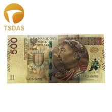 1 шт 500 злотых банкнот из чистой золотой фольги, польские сувенирные банкноты, прямая поставка