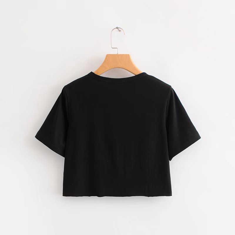 Camiseta corta de verano para mujer, camisetas negras con