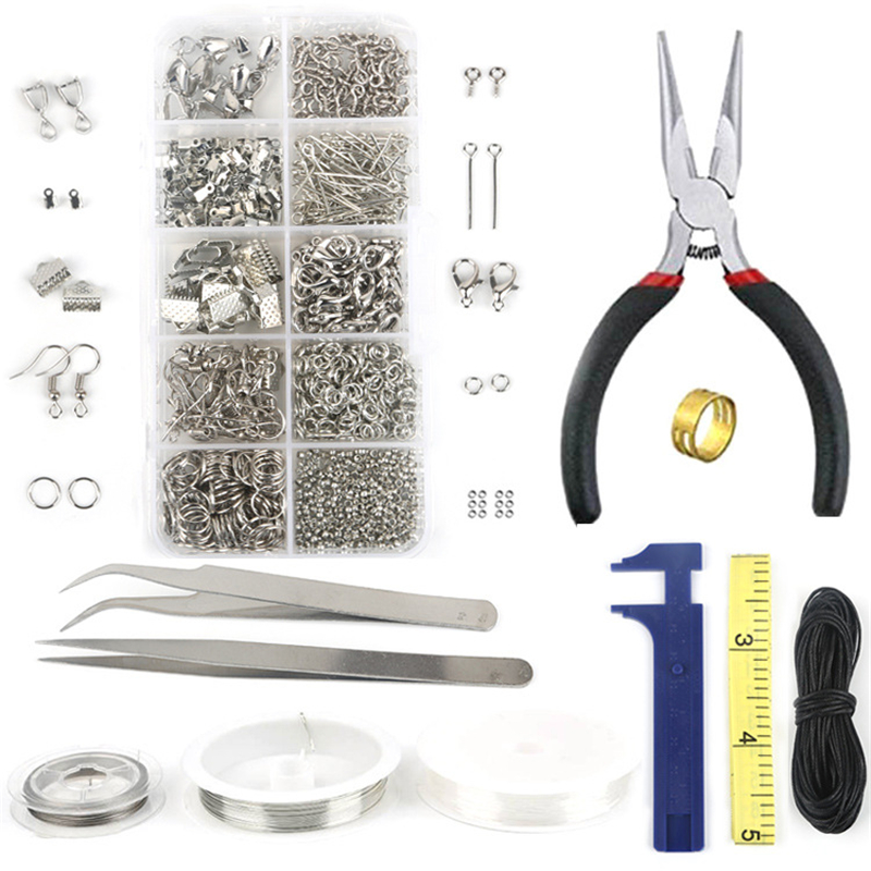 10 Grids Single Ring/Lobster Clasp/Tail Chain/Clip Buckle Necklace Jewelry Making Materials Supplies Iron Repair Tool Sets