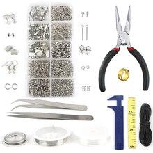 Conjunto de herramientas de reparación de hierro, 10 rejillas, Un solo anillo, cierre de langosta, cadena de cola, hebilla de Clip, collar, materiales de fabricación de joyas