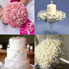5m Pearls Beads Chain Artificial Flower DIY Bride Bouquet hair accessories hen party Wedding table centerpieces Decoration Favor(China)