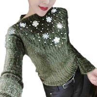 Floral Beading Pearl Women S Shirt Handmade Sparkly Pearl Blouses Office Women Blouse Velvet Flare Sleeve