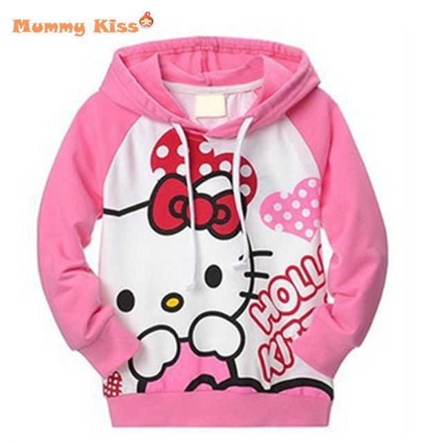 2015 New Fall Hello Kitty Girls Clothes Long Sleeve Pink Cotton Children Hoodies&Sweatshirts Cartoon Hoodies Sweatshirts k20405