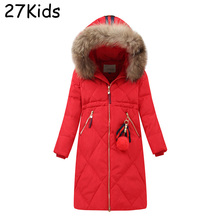 Winter Jackets Women Real Raccoon Collar Hooded 100% White Duck Down Parkas Coats X-Long Warm Casual Red Snow Outwear Jackets