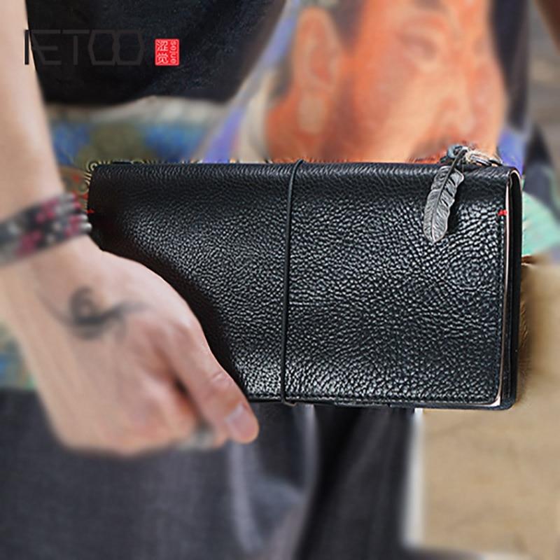 AETOO Portefeuille hommes en cuir de business notebook portefeuille tempérament jeunes longue journal en cuir argent Clip