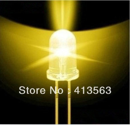 1000PCS 5MM  YELLOW  light ,white BRIGHT YELLOW LED ,lamp light tube LONG  legs
