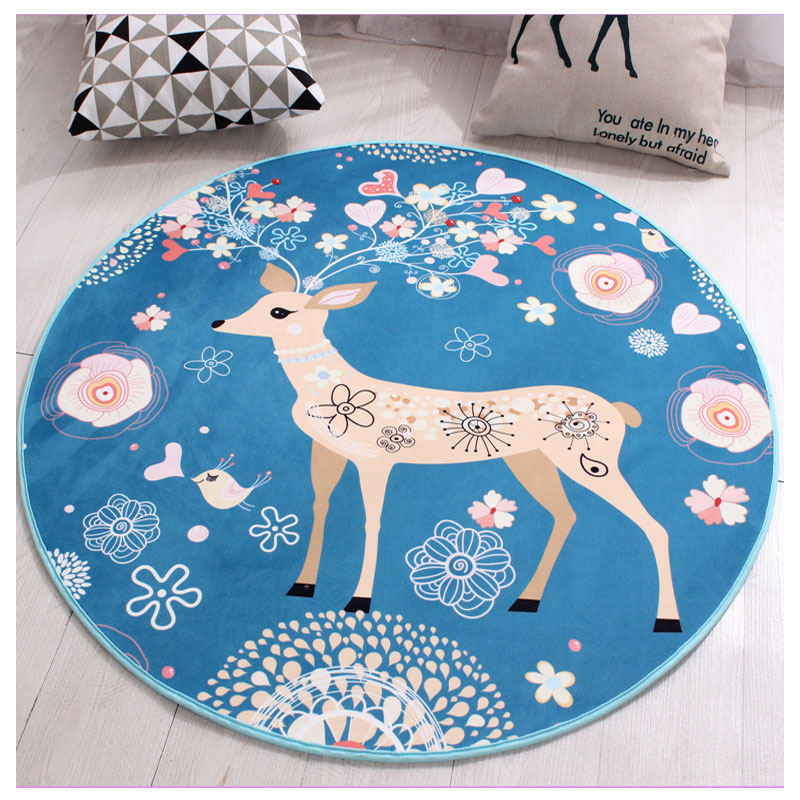 Wholesale Price Round Carpet Mat Cushion Christmas Deer Cartoon Waterproof Blanket For Children Baby Gym Activity Playmat Carpet
