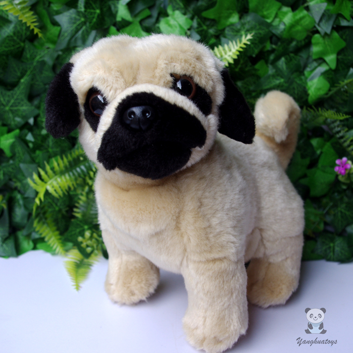 Stuffed Animal Toys Cute Plush Standing Pug Dog Doll Childrens Educational Toy Gift Store