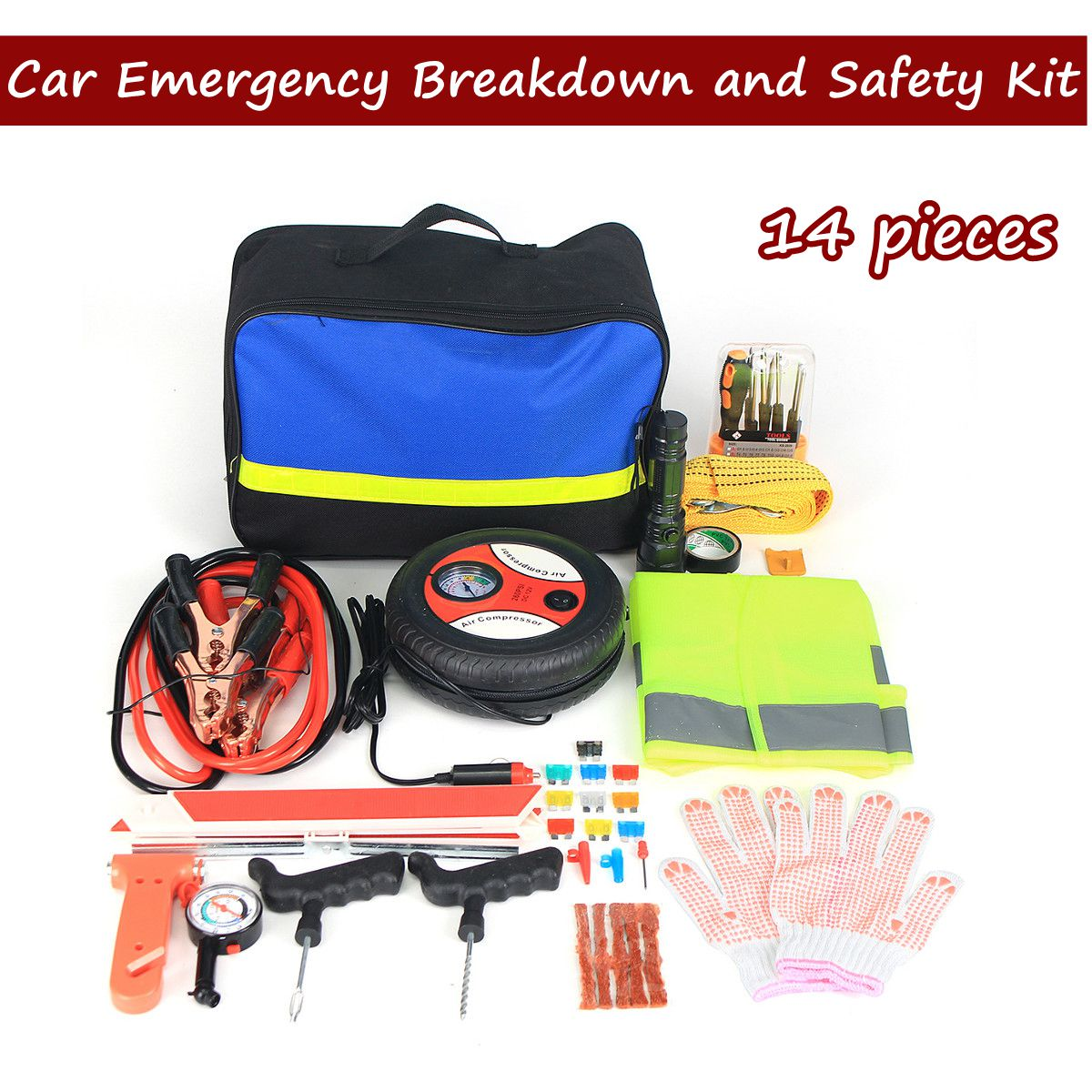 14pcs Vehicle emergency rescue bag Automobile Truck tire pressure gauge Tool kit Maintenance tools First aid kit Safety hammer14pcs Vehicle emergency rescue bag Automobile Truck tire pressure gauge Tool kit Maintenance tools First aid kit Safety hammer