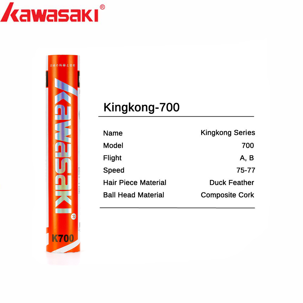 Kawasaki Badminton Shuttlecock  King Kong 700 Duck Feather For Training Racquet Sports Speed 76 77 Durable Badminton Balls