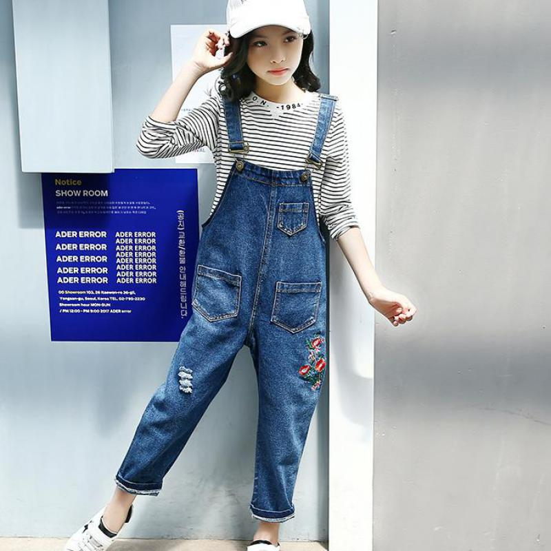 2018 Children Clothes Set For Girls Clothing Sets Teenagers 11 12 13 14 Years Striped Shirt + Denim Overalls Kids Teens Clothing 2018 new spring girls children denim jeans jumpsuit overalls pants striped t shirt tracksuit sets for teenagers girls kids 71
