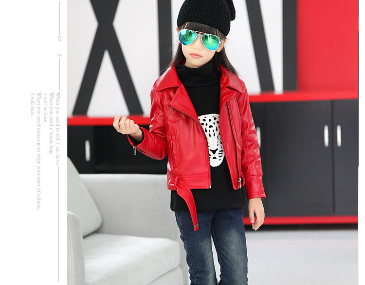 New 2016 girls casual jacket long sleeve high quality leather jacket girls spring outwear girl leather
