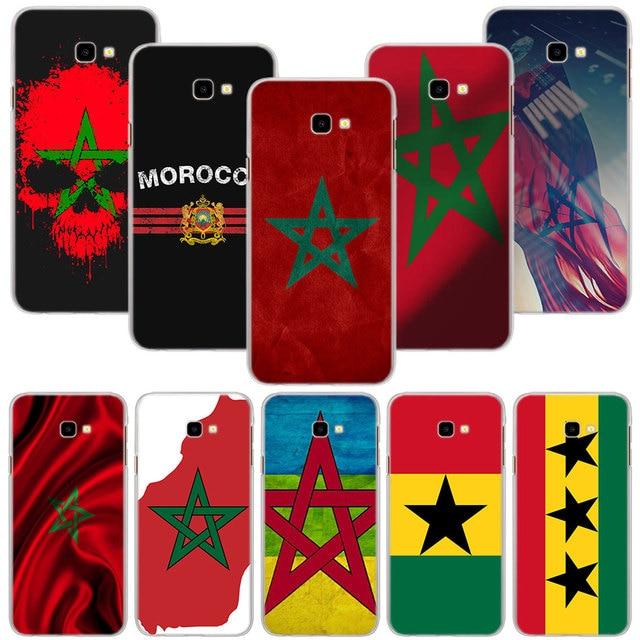 MA Maroc Morocco Cờ Cứng PC Trường Hợp Bìa cho Samsung Galaxy J3 J4 J6 Cộng Với J5 J7 J8 2018 J2 hình học Điện Thoại Vỏ Trong Suốt
