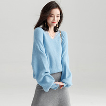 2018 autumn new arrival v-neck loose sweater women thin pullover sweater women's fashion pullover y8037 цены онлайн