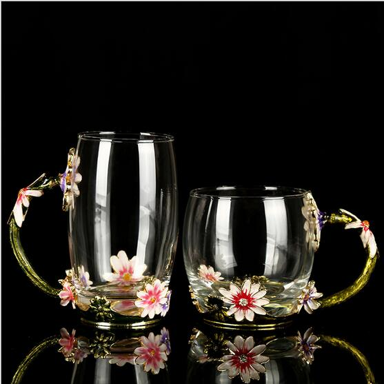 Colored enamel tea cup wedding toasting wine glasses crystal office furniture goblet gifts drinking glasses set