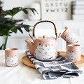 Набор розовых керамических чашек для чая с милым котом  чашка для воды  Манеки Неко  дизайнерский фарфоровый чайник  чайный набор (4 чашки + 1 ч...
