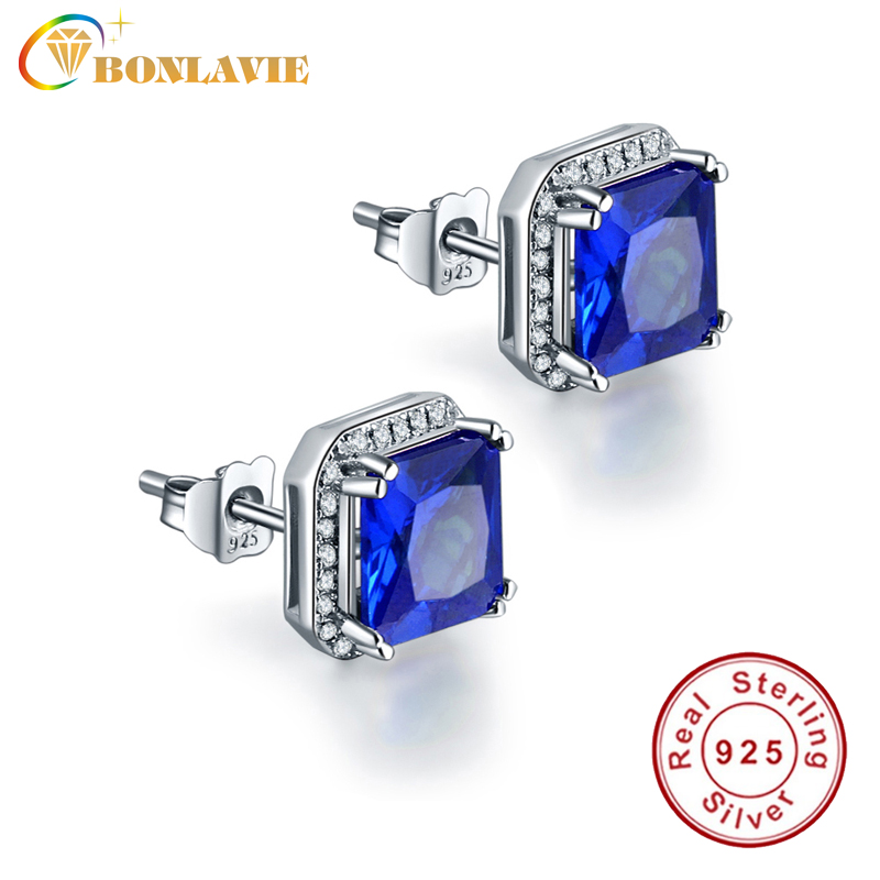 Stud-Earrings Jewelry Natural-Stone Sapphire Women 925-Sterling-Silver Classic for Pure