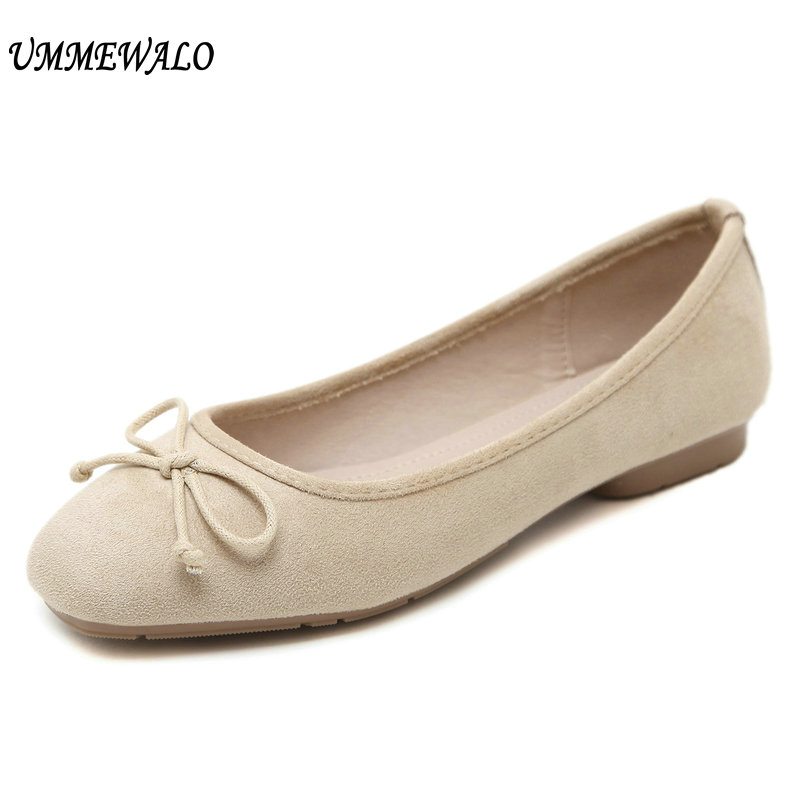 UMMEWALO Women Suede Leather Flat Shoes Women Slip On Soft Loafers Woman Comfortable Square Toe Flats