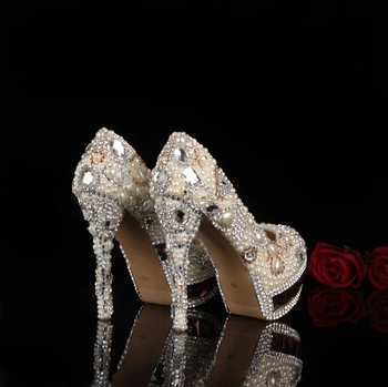 2018 Pearl wedding shoes High heel wedding shoes Slipper wedding shoes Diamond shoes dress shoes Party Shoes Formal Shoes
