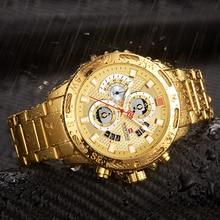 NAVIFORCE relojes deportivos para hombre, cronógrafo de pulsera, resistente al agua, de cuarzo, militar, dorado, Masculino