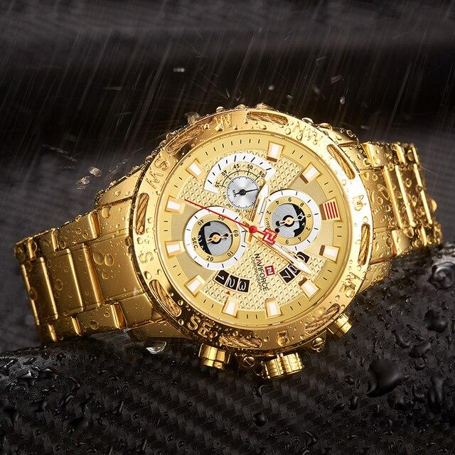 Orijinal NAVIFORCE lüks marka erkek spor saatler altın tam çelik su geçirmez askeri kuvars kol saati Relogio Masculino