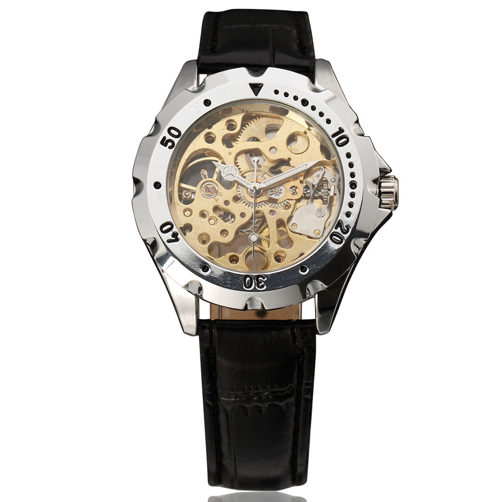Fashion Winner Mechanical Men Clock Chronograph Stainless Gear Index Case Skeleton Dial Black Genuine Leather Strap Wrist Watch
