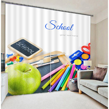 Senisaihon 3D Blackout Curtains Cartoon new Semester Pencil Bag Pattern Fabric Children Bedroom School for Living Room