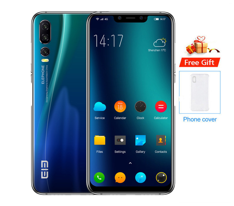 "2018 original Elephone A5 smartphone P60 MT6771 Octa-Core 6.18"" 18.7:9 Android 8.1 4GB+64GB 20MP Face ID 4G LTE OTG Mobile Phone"