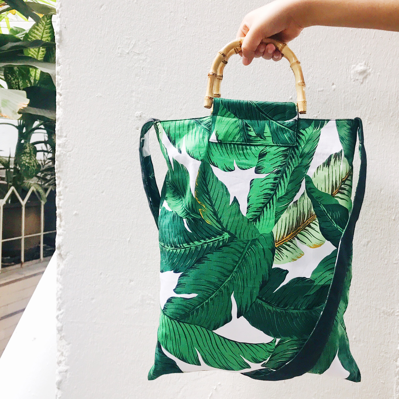 2017 Bohemian fashion can be fold over beach bag women bamboo handlebag printed canvas shopping bag large big tote shoulder bag