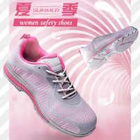 Sapatos de segurança mulher com aço toe-cap anti impacto forte piercing leve verão respirável trabalho protetor caminhadas ao ar livre