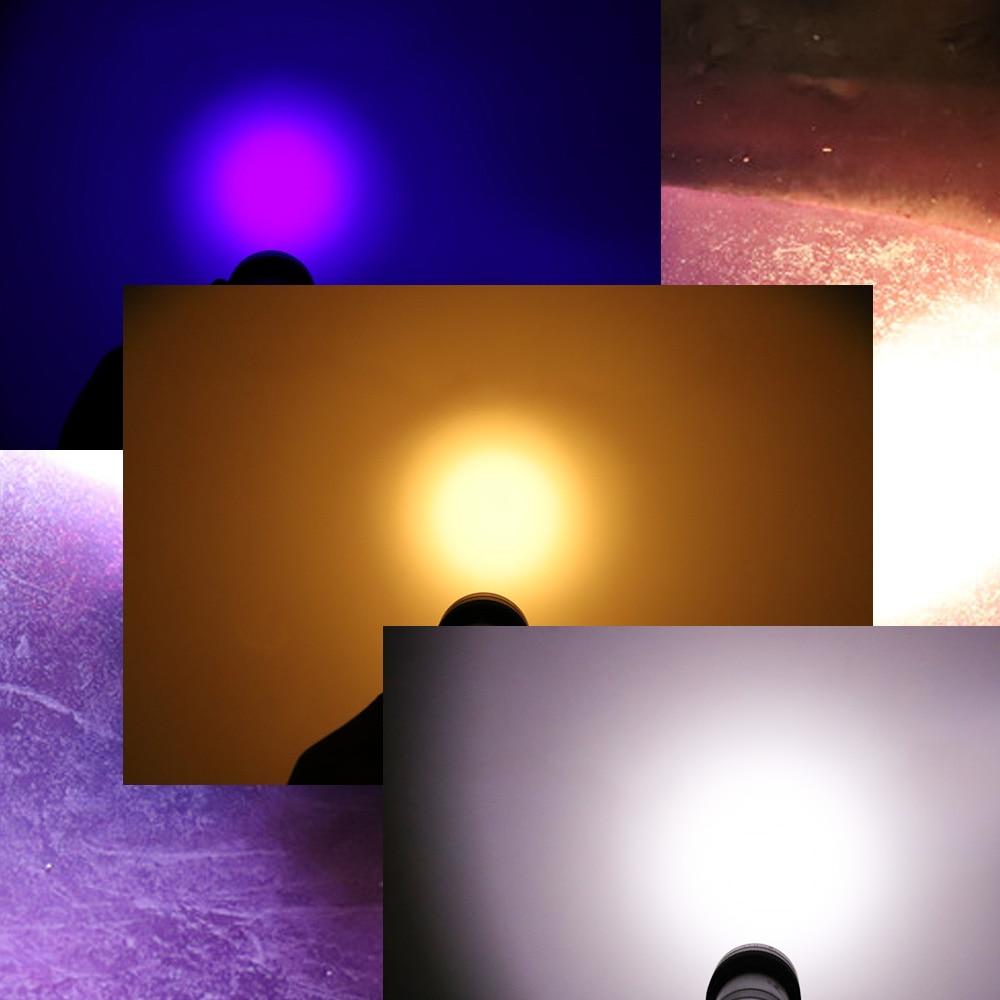 UV Three color LED Flashlight Torch Light 18650 or 26650 Ultra Violet Light Blacklight UV Lamp For Marker Checker Detection SK68 alonefire sk68uv 395nm zoomable led uv flashlight torch light ultra violet light blacklight uv lamp aa battery for marker checke