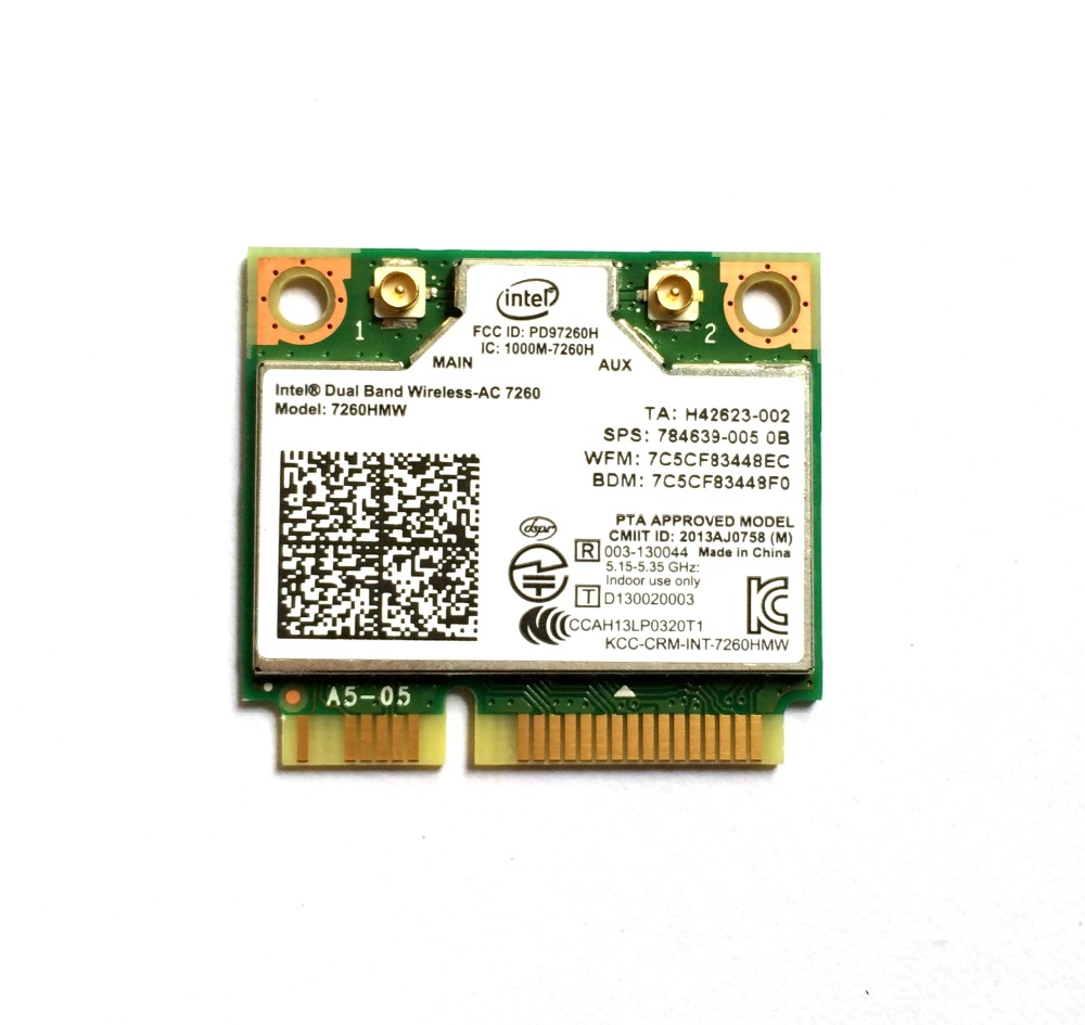Intel Dual Band Wireless 7260 Intel7260 7260AC 7260HMW 2.4&5G 867M BT4.0 MiniPCIe WiFi Wireless Card(China)