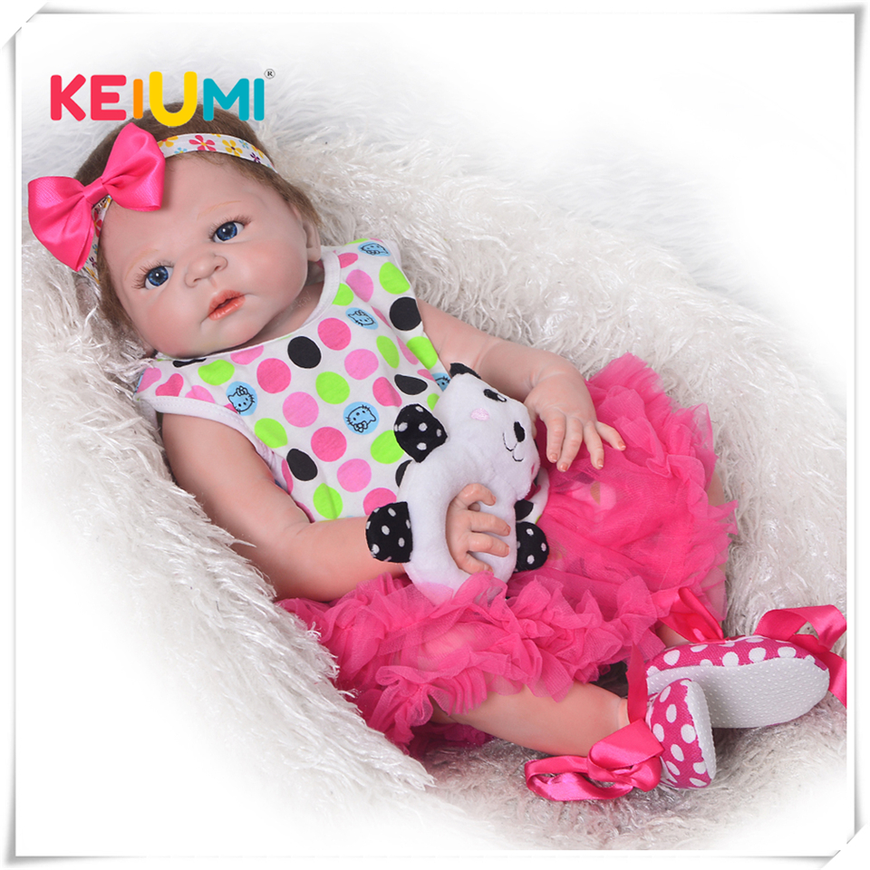 23 Inch Reborn Baby Doll Lifelike Full Silicone Vinyl Girl Body Newborn Babies That Look Real Kids Birthday Christmas Gift skipping rope
