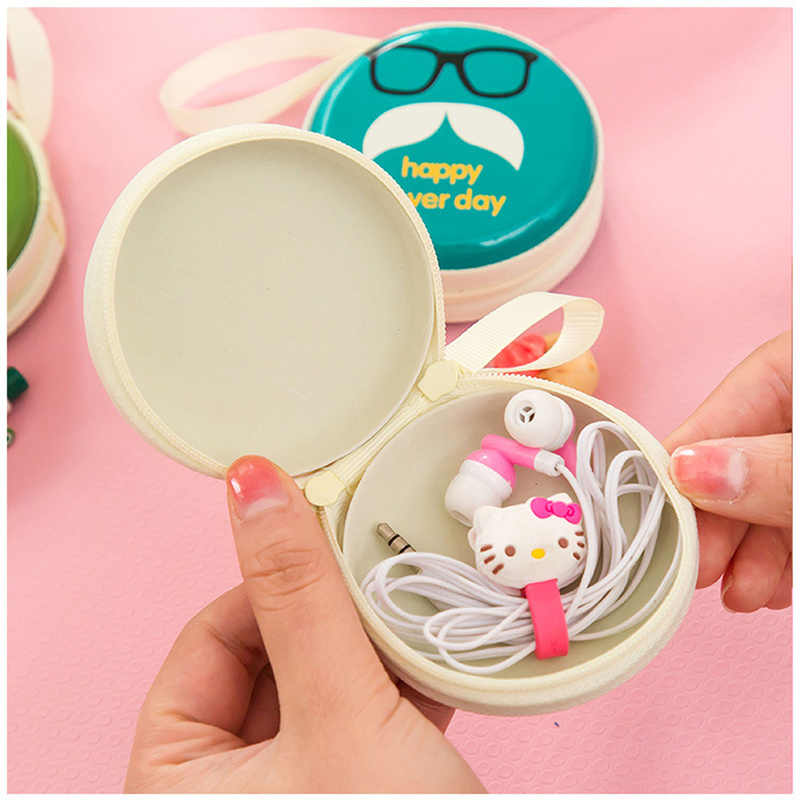 2pcs Colorful Cartoon Round Earphone Bag for Airpods Headphone Box Bag Coin Purse Iron Bearded Mini Portable Key Headset Bag