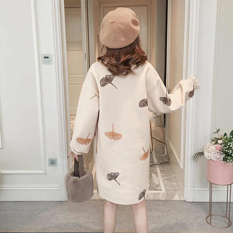 ファッション媒体の長さの半分の高襟フリル刺繍ドレス秋冬 2019 女性新ルースレトロウッド耳毛深いドレス