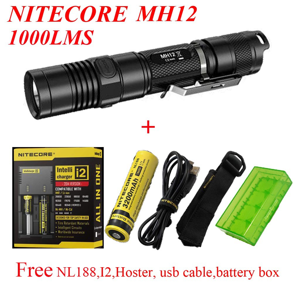 2015 Nitecore MH12 1000 lumens CREE XM-L2 U2 LED flashlight+ NL188 battery +I2 charger+hoster+usb cable+battery box tinhofire 6870 cree xm l 2 2000 lumens l2 led flashlight torch light lamp micro usb input 5v charger with battery