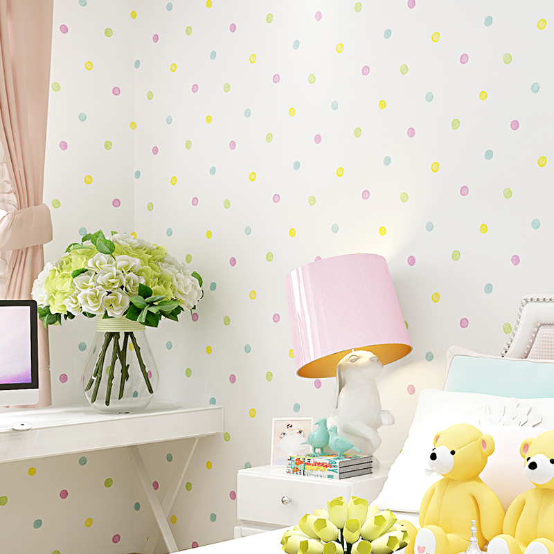 Bacaz Small dots Cartoon Wallpaper Roll for Child Kids Room Background Wall paper Rolls 3d Wallcoverings bacaz black and white stripe wallpaper rolls 3d papel parede 3d wall paper roll for tv background living room 3d wallcoverings