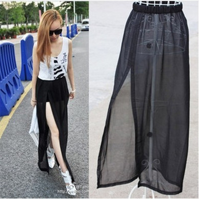 4ee4352d697 Sheer Skirts 2014 New Womens Casual Pure Color Long Skirts Female High  Waist Maxi Skirts Female With Plus Size tulle skirt