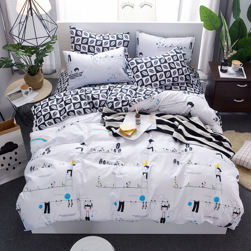 Bedding Set Cotton Four Piece Duvet Cove Simple Fashion Kit Cotton Quilt Cover Sheets Bedding Set