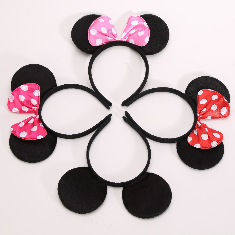 MINNIE Ears Headband Birthday Party Supplies Baby Hair Accessories Party Decoration Baby Shower Valentines Day 10pcs/lot