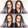 Synthetic lace front box braids ombre kanekalon braiding wig ombre black to grey twist braiding synthetic lace front braided Wig