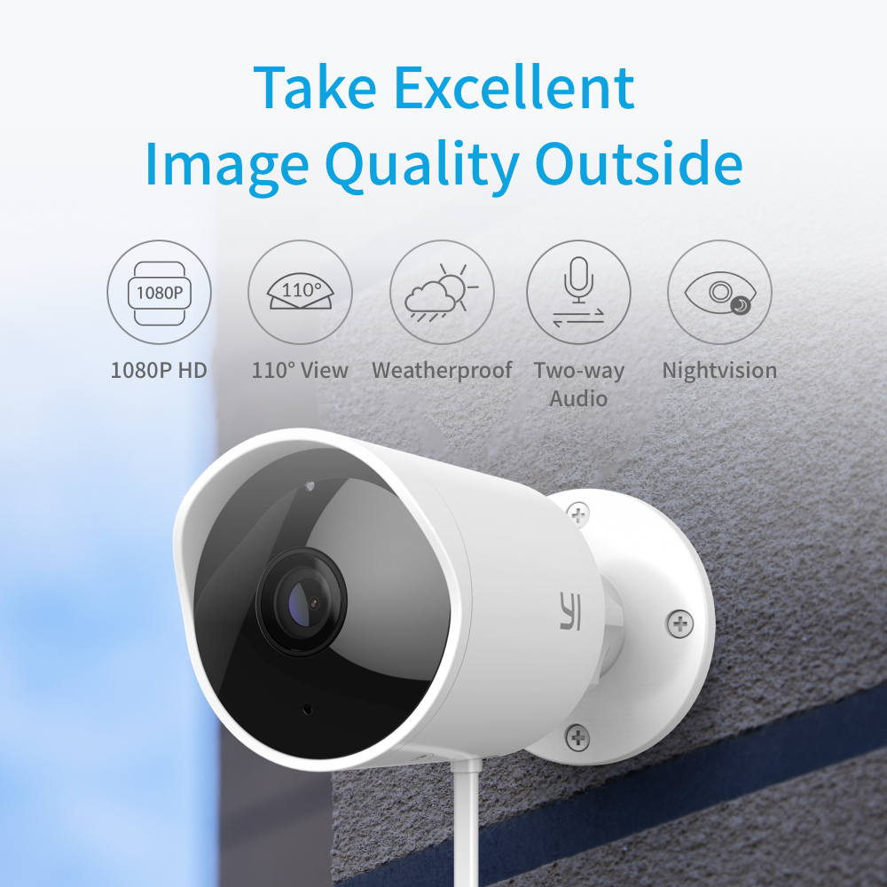 Image 2 - YI Outdoor Security Camera SD Card Slot &Cloud IP Cam Wireless 1080p Waterproof Night Vision Security Surveillance System White-in Surveillance Cameras from Security & Protection
