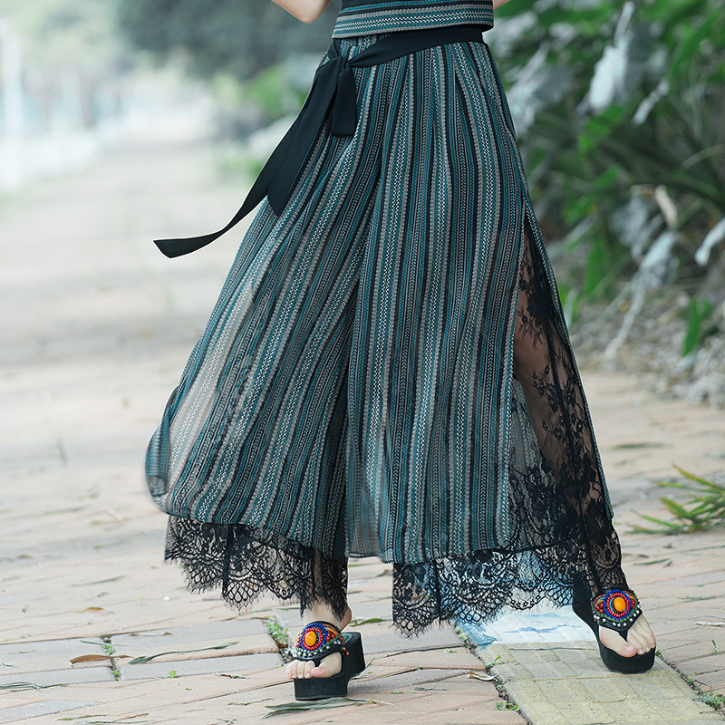 2019 Summer Elastic Waist Belted Chiffon   Pants   Casual Loose Lace Patchwork   Wide     Leg     Pants   Women Vintage Striped Trousers