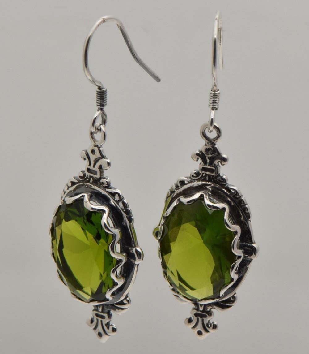 Livraison gratuite la nouvelle couronne 2015 au paragraphe 7.1 ct olivine Edward femmes 1910 vintage 925 boucles d'oreilles en argent sterling