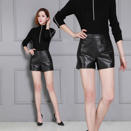 2019 New Autumn And Winter Sheep Slim Wide Leg Shorts KS37