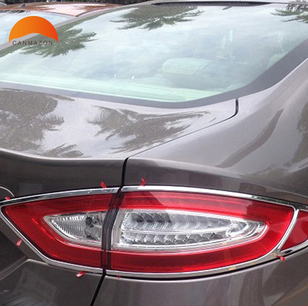 For Ford Mondeo SKD MONDEO Contour Fusion 2013 2014 ABS Chrome rear tail light lamp cover trim auto model shell accessories for ford fusion mondeo 2013 2014 2015 control glass water panel protective film stickers carbon cover