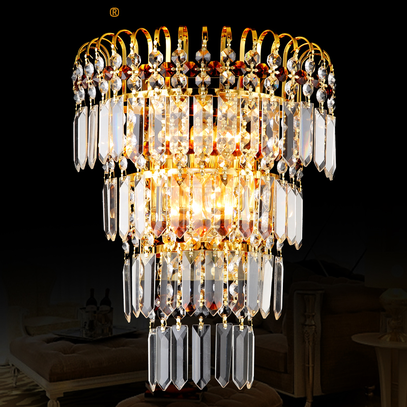 European Crystal Wall Light Modern led Crystal Light Hotel Bar Living Room Background Decoration Wall Lamp Bedroom Wall lamps luxurious crystal wall lamp metal plating modern wall light hotel ideas wall lights indoor modern wall lamps art deco lighting