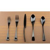 20ピース/ロット黒18/10ステンレス鋼食器黒カトラリーセットキッチン食器ナイフフォークティースプーン食器ドロップ無