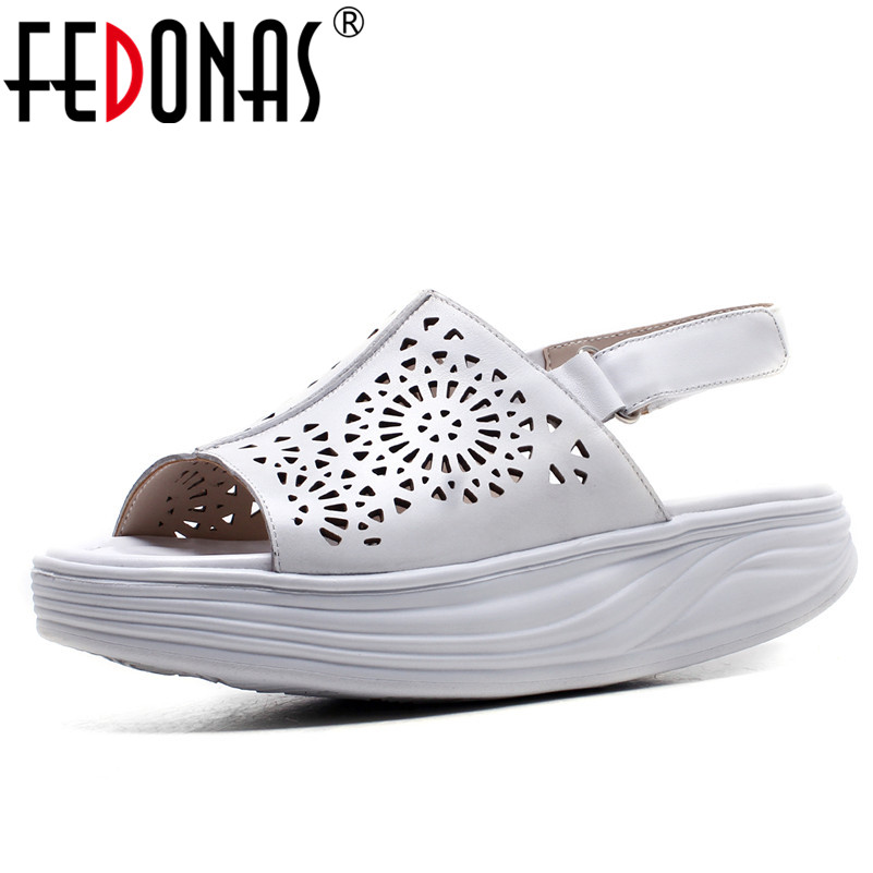 FEDONAS 2019 New Women Sandals Summer Platform Fashion Genuine Leather Shoes Woman Cut-outs Comfort Casual Shoes Sandals Women 2018 summer new genuine leather women slippers sexy cut outs high heels shoes fashion slides natural leather sandals for women